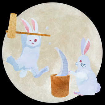 Watercolor moon view rabbit ①
