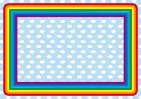 Rainbow frame in the blue sky