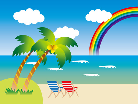 A beach with a palm tree and a rainbow