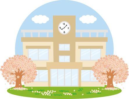 학교와 벚꽃과 하늘