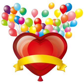 Heart balloon ribbon ribbon icon decoration frame