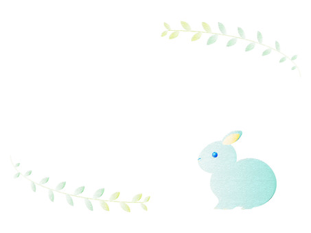 토끼와 잎 프레임 심플