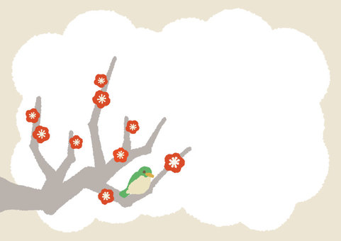 【Spring】 ume plum ribdess card material