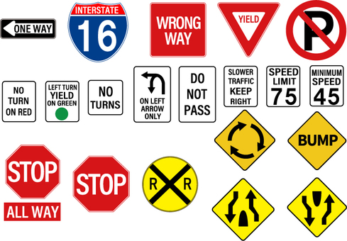 United States Road sign tag set