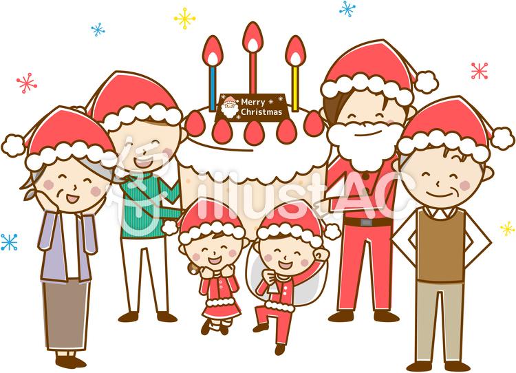 6人家族クリスマス A18 パステル イラスト No 無料イラストなら イラストac