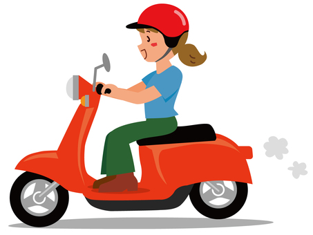 Girl riding a scooter -1