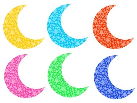 Crescent moon and star, set 1