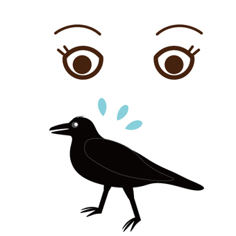 An image of a crow where gaze is anxious