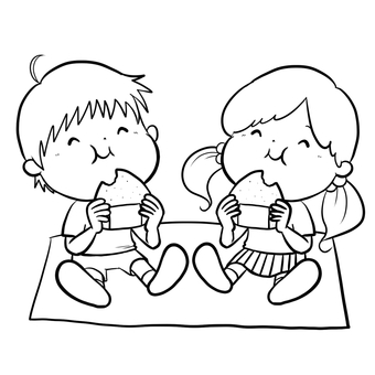 Children drawing drawing onigiri line drawing