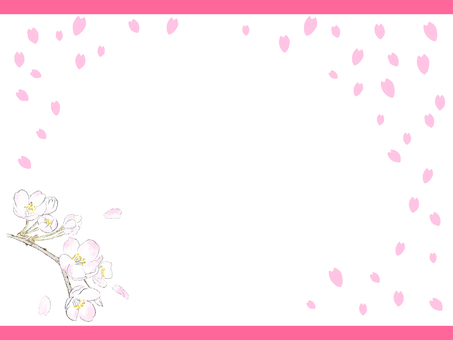 Cherry blossom background frame material 01