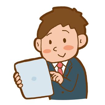 平板電腦的商人