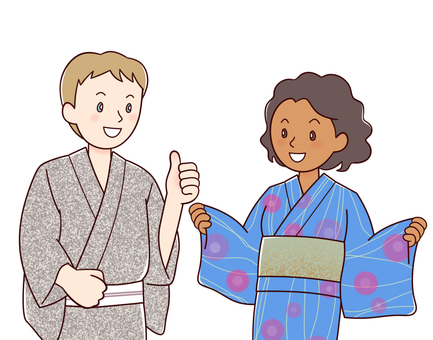 Foreigners in a yukata (white male, black female)
