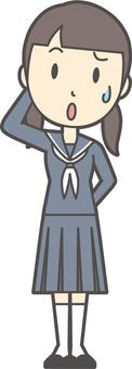 Junior high school sailor woman -018- whole body