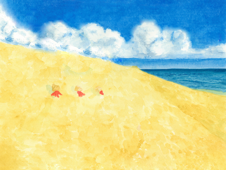 Watercolor Summer sea and hermit crab