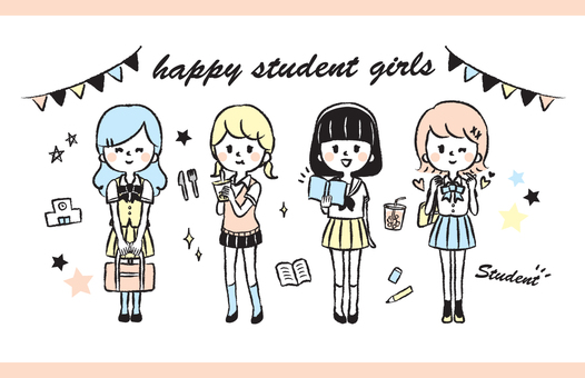 Girl in Uniform Hand Drawn Illustration Set