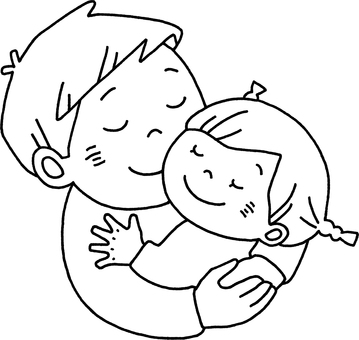 擁抱女孩的父親