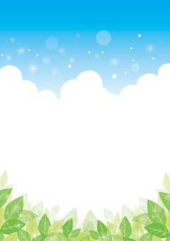 Green leaves and blue sky background 02