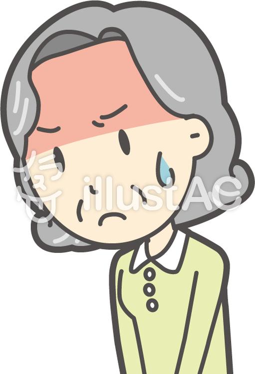 老人ボブ女性-124-バストのイラスト