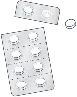 White tablet medicine (2 rows)