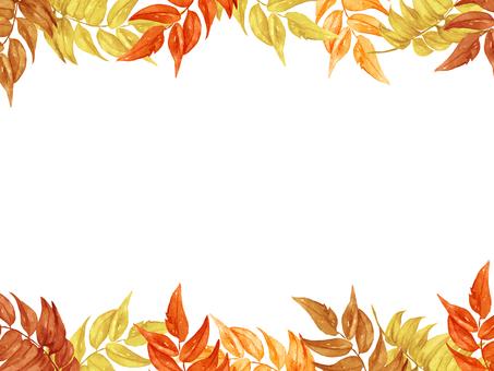 【Transparent】 watercolor autumn leaf frame