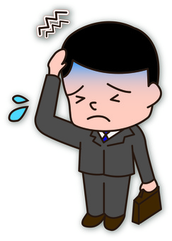 A hangover office worker