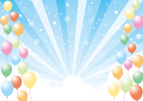 Balloons and sky _ background material 02