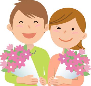 70213. Couple, bouquet