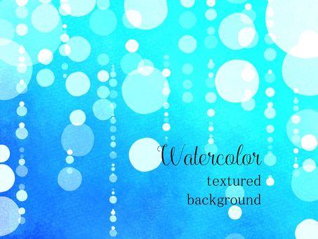 水彩框架04 /藍色b與波爾卡圓點和雨