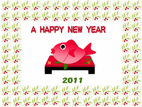 Celebration New Year's cards (sea bream)