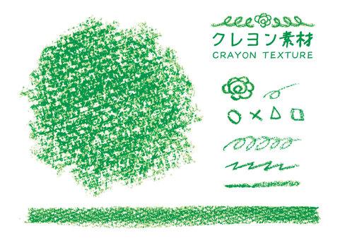 クレヨンタッチ風素材(緑色)01