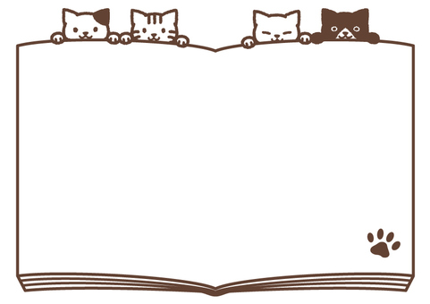 Four cats and book frame