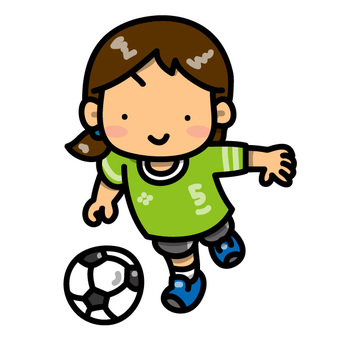 A girl who dribbles a soccer ball