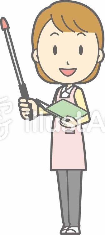 エプロン主婦-指示棒1左斜め-全身のイラスト
