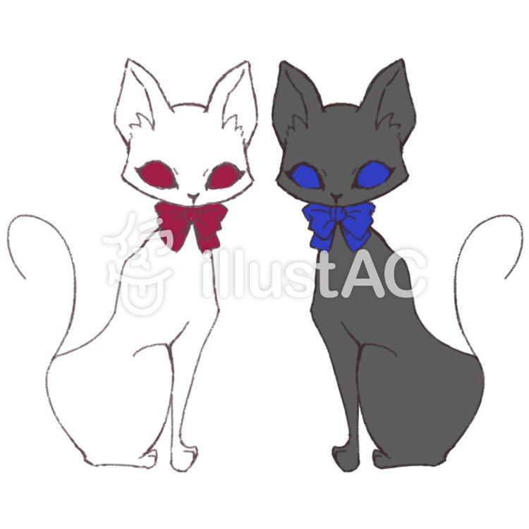 スタイリッシュな双子猫イラスト No 1011493無料イラストなら