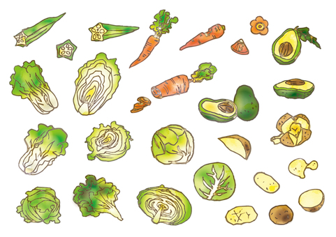 Assortment of watercolor vegetables _ 03