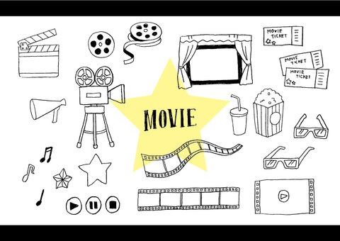 Handwritten movie illustration set