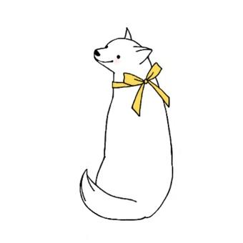 Dog and ribbon