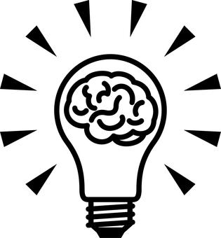 전구 뇌 아이디어 영감 발상