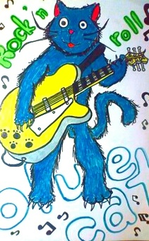 Blue cat playing guitar