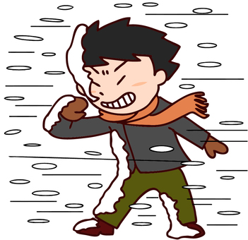Illustration of a man who can not move in a snowstorm