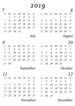 Second half of 2019 A4 simple calendar