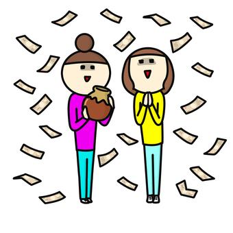 Two people explaining money