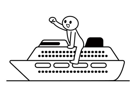 棒人間-船で出発