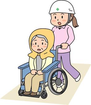 Elderly evacuation of wheel chair