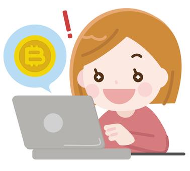 Women doing bitcoin trading