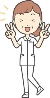 Middle-aged woman nurse white coat 012-whole body