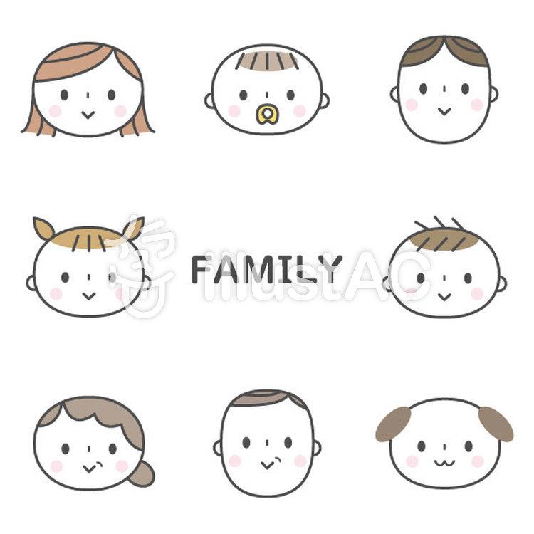 かわいい三世代家族と犬セットイラスト No 1198838無料イラストなら