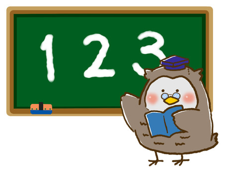 Teacher Owl and Blackboard (Teaching Numbers)