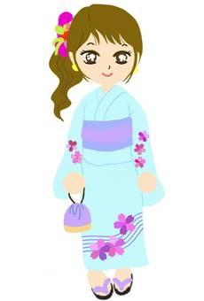 Yukata girl kimono obi summer whole body