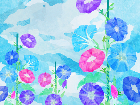 朝顔 壁紙 ⑪ 水彩